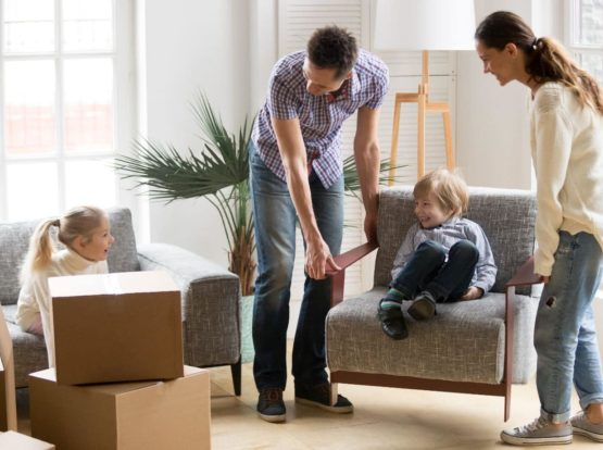 Family preparing to move furniture in Sydney